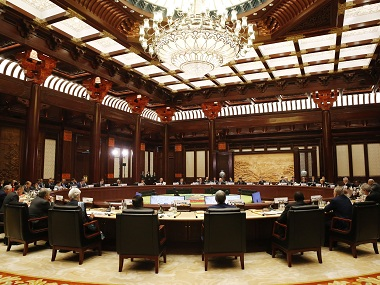 Heads of states and officials attend a summit at the Belt and Road Forum in Beijing on Monday. AP