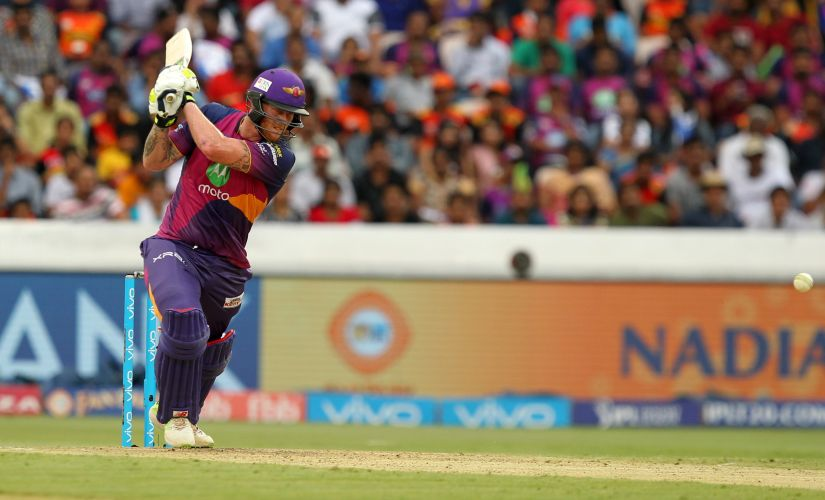 Ben Stokes of Rising Pune Supergiant hits a shot in his innings against the Sunrisers Hyderabad. Sportzpics