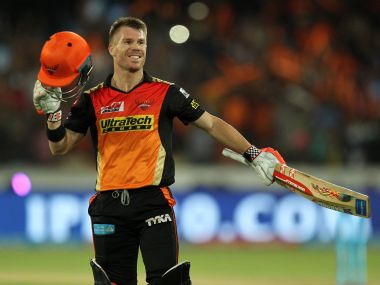 David Warner captain of Sunrisers Hyderabad celebrates his century against Kolkata. Sportzpics