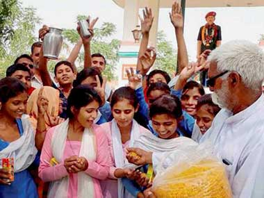 The girl students of Government High School break their fast and celebrate in Rewari, Haryana. PTI