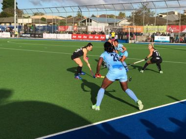 Players from the Indian women's hockey team in action during the New Zealand series