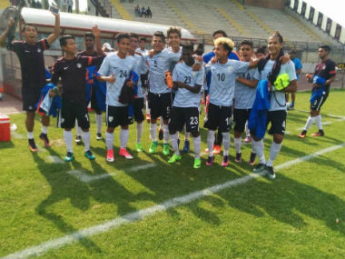 The Indian U-17 side celebrate after their 2-0 win over Italy. Image courtesy: Indian Football Team via Twitter