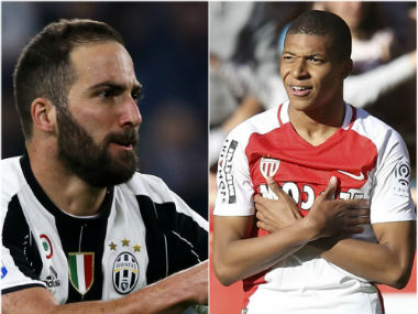 File photo of Gonzalo Higuain and Kylian Mbappe. AFP