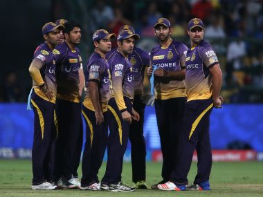 Kolkata Knight Riders players during the 2nd Qualifier against Mumbai Indians on Friday. Sportzpics/IPL