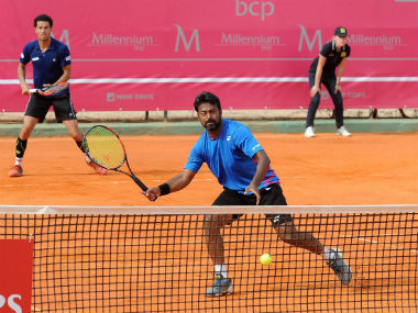 Leander Paes and Andre Sa in action at the Estoril Open. Twitter: @Leander