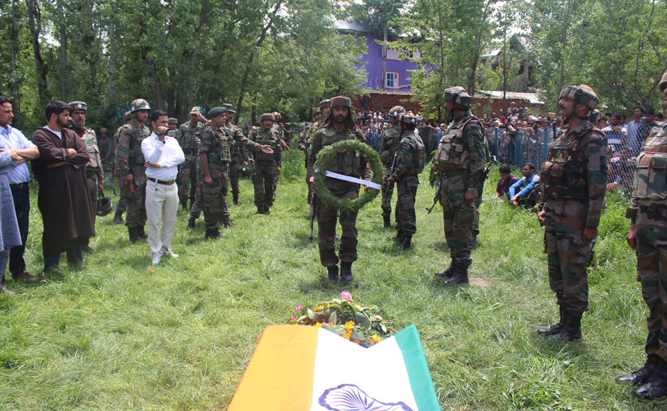 Ummer Fayaz, the Indian Army officer killed by militants in Kashmir, laid to rest