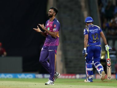 Jaydev Unadkat of Rising Pune Supergiant celebrates the wicket of Karn Sharma of the Mumbai Indians. Sportzpics