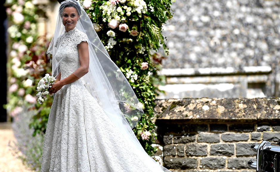 Pippa Middleton, sister of Britain's Catherine, Duchess of Cambridge, arrives for her wedding to James Matthews at St Mark's Church in Englefield, west of London, on May 20, 2017. Pippa Middleton hit the headlines with a figure-hugging outfit at her sister Kate's wedding to Prince William but now the world-famous bridesmaid is becoming a bride herself. Once again, all eyes will be on her dress as the 33-year-old marries financier James Matthews on Saturday at a lavish society wedding where William and Kate's children will play starring roles. AP