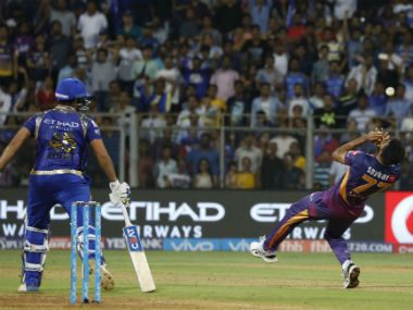 Action between Mumbai Indians and Rising Pune Supergiant in a group match at the Wankhede. Sportzpics