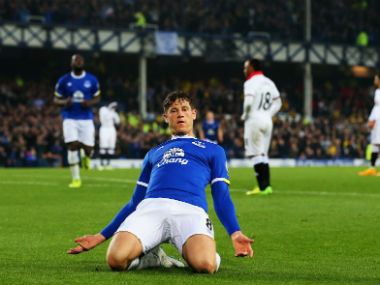 Everton's Ross Barkley celebrates his goal against Watford. Getty Images