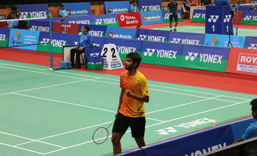 B Sai Praneeth in action at the India Open. PTI