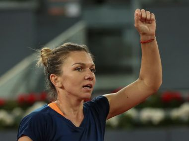 Simona Halep celebrates her victory in the women's singles semi-final match. Reuters