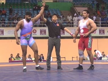 Sumit is through to the final of 125 kg Freestyle. Image courtesy: United World Wrestling
