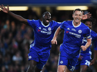 John Terry celebrates his goal against Watford on Monday. Getty Images