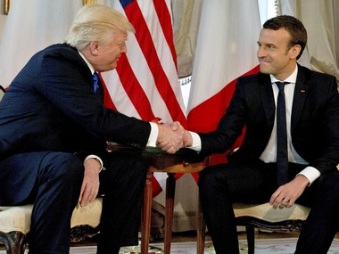 Donald Trump meets Emmanuel Macron says whole world talking about French presidents win