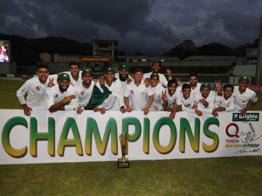 Pakistan cricket team players celebrate after winning Test series against West Indies. AFP