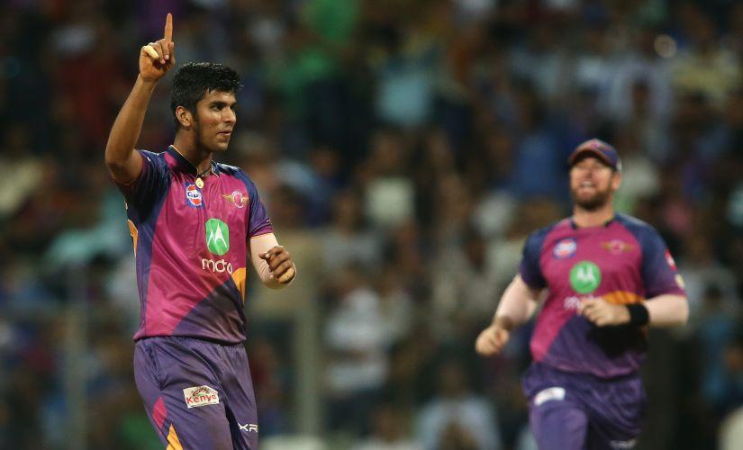 Washington Sundar of Rising Pune Supergiant celebrates getting Mumbai Indians captain Rohit Sharma's wicket. Sportzpics