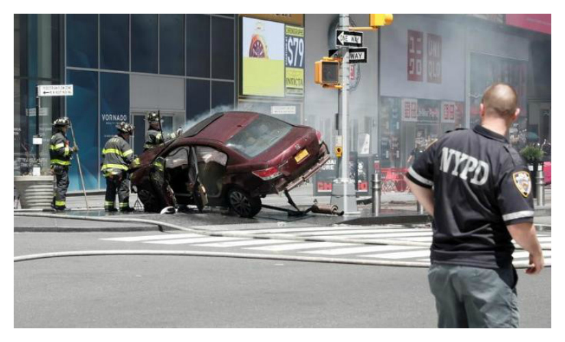 A vehicle that struck pedestrians in Times Square and later crashed is seen on the sidewalk in New York City, U.S. (REUTERS)