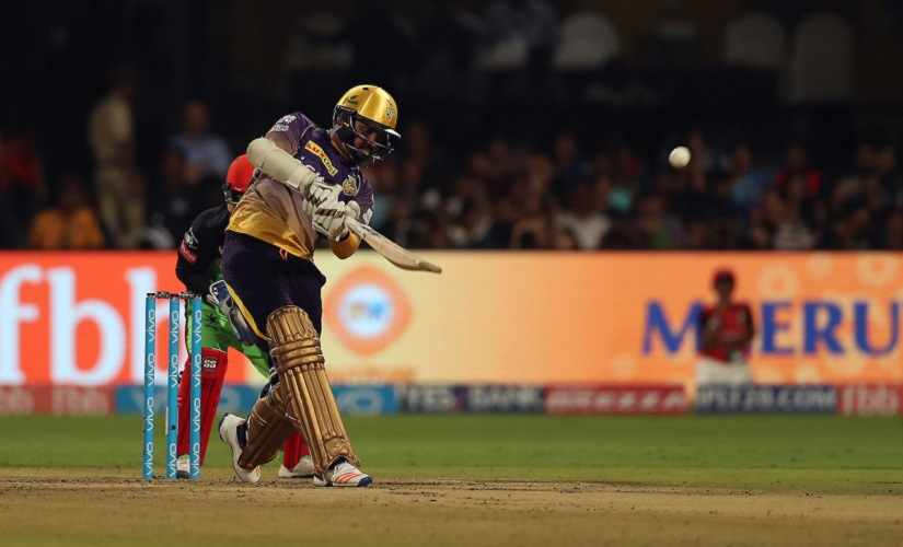 Sunil Narine of the Kolkata Knight Riders hits over the top for six during match 46 of the Vivo 2017 Indian Premier League between the Royal Challengers Bangalore and the Kolkata Knight Riders held at the M.Chinnaswamy Stadium in Bangalore, India on the 7th May 2017 Photo by Ron Gaunt - Sportzpics - IPL