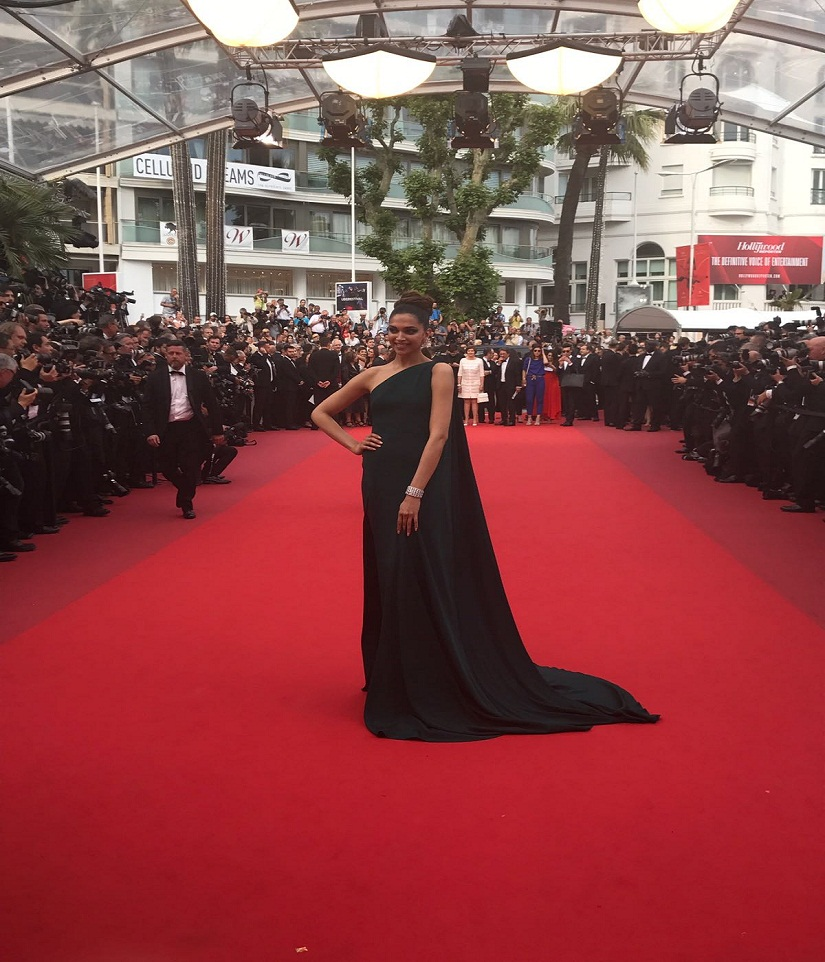 Cannes 2017 Deepika Padukone opts for daring bottle green grown on day two red carpet turn