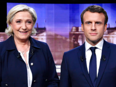 (L to R) File images of Marine Le Pen and Emmanual Macron . AP