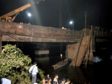 Rescue operations at the goa bridge. PTI
