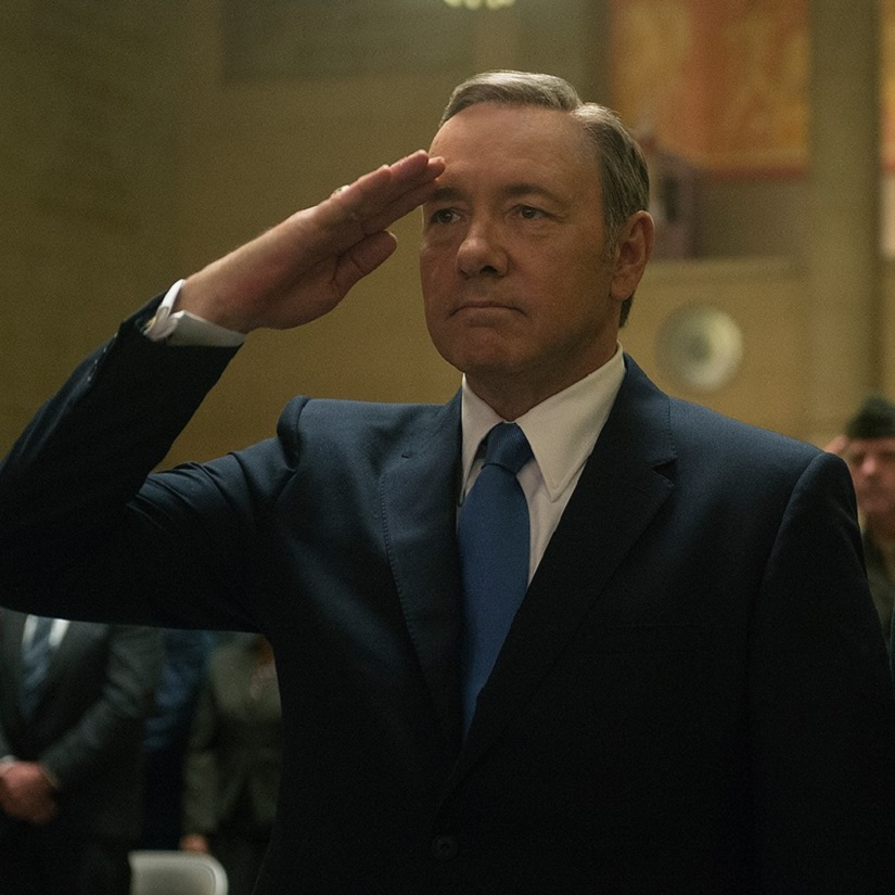 Kevin Spacey in a still from House of Cards. Image from Facebook