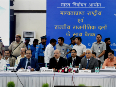 New Delhi: Chief Election Commissioner Nasim Zaidi during the all-party meeting convened by the poll watchdog to discuss the reliability of the EVMs -- an issue flagged by opposition parties -- got underway in New Delhi on Friday. PTI