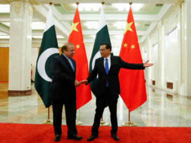 Beijing: Chinese Premier Li Keqiang, right, meets Pakistani Prime Minister Nawaz Sharif at the Great Hall of the People in Beijing, China, Saturday. AP