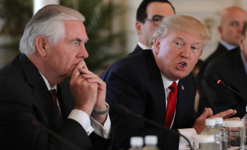 America plans to gut foreign aid and fund instead for 'quick results'. Rex Tillerson and Donald Trump in pic/ Reuters