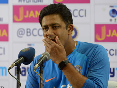 Indian cricket coach, Anil Kumble addresses a press conference before a practice session prior to the second Test match between India and Australia at The M. Chinnaswamy Stadium in Bangalore on March 2, 2017. / AFP PHOTO / Manjunath KIRAN / ----IMAGE RESTRICTED TO EDITORIAL USE - STRICTLY NO COMMERCIAL USE----- / GETTYOUT