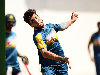 File image of Pakistan's Rumman Raees bowling during a practice session. AFP