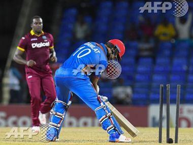 Brathwaite rattles Najibullah Zadran's stumps in the 2nd T20