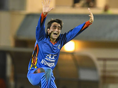 Rashid Khan appeals for a wicket during the 1st ODI. AFP