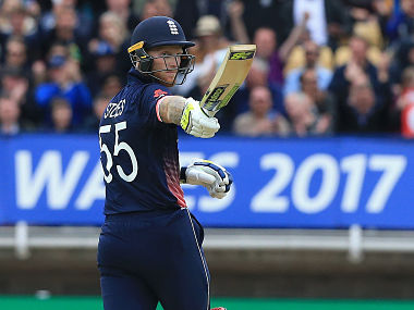 England's Ben Stokes celebrates reaching 50 during the ICC Champions Trophy match between England and Australia at Edgbaston in Birmingham, central England on June 10, 2017. Australia made 277 for 9 off their 50 overs. / AFP PHOTO / Lindsey Parnaby / RESTRICTED TO EDITORIAL USE