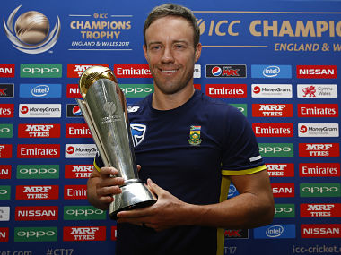 South Africa's AB De Villiers poses with the trophy after the press conference.Reuters