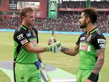 File image of AB de Villiers and Virat Kohli playing for RCB. Image courtesy: BCCI
