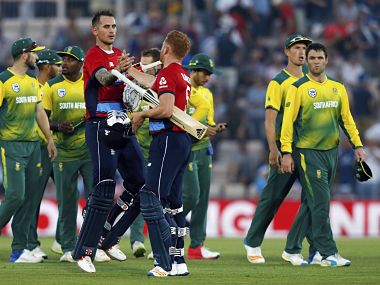 England's Alex Hales and Jonny Bairstow after taking England to a win against South Africa. AP