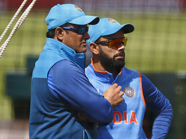 India's Virat Kohli and coach Anil Kumble (L) during a practise session . Reuters