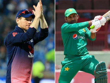 England captain Eoin Morgan (L) and Pakistan skipper Srfraz Ahmed (R). AFP