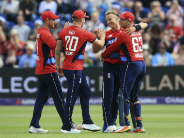 England celebrate after taking a wicket in the 3rd T20I match against South Africa in Cardiff. AP