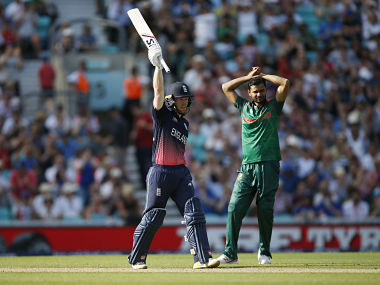 England skipper Eoin Morgan celebrates his fifty in the Champions Trophy opener against Bangladesh. Reuters