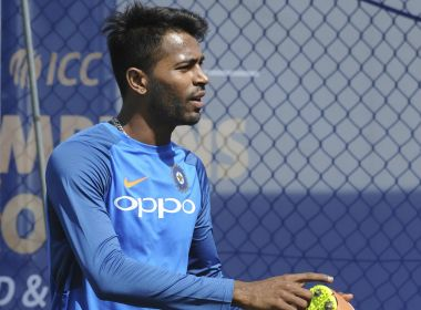 India's Hardik Pandya in the nets during a practice session ahead of their ICC Champions Trophy Group B match against Pakistan at Edgbaston in Birmingham, England, Thursday, June 1, 2017. (AP Photo/Rui Vieira)