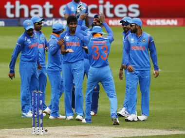 India players celebrates the wicket of Mehedi Hasan Miraz during their warm-up match against Bangladesh. Reuters