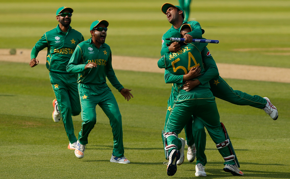 Pakistan's Sarfraz Ahmed completed the formalities and team mates celebrate after taking India's last wicket. Reuters