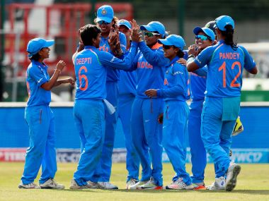 India celebrate after their victory against England in the ICC Women's World Cup. Reuters