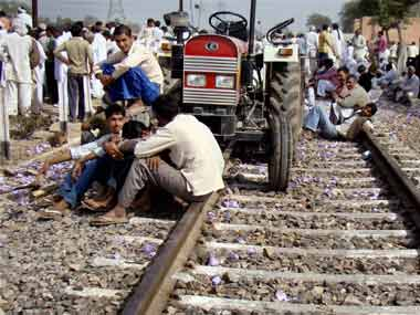 Jats in Bharatpur Rajasthan block railway line over demand for OBC quota benefits
