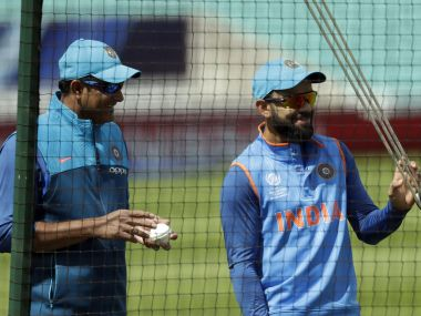 Former Indian coach Anil Kumble with captain Virat Kohli in the nets during recently concluded Champions Trophy. AP