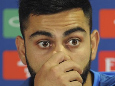 India captain Virat Kohli attends a press conference ahead of their ICC Champions Trophy Group B match against Pakistan at Edgbaston in Birmingham, England, Saturday, June 3, 2017. (AP Photo/Rui Vieira)