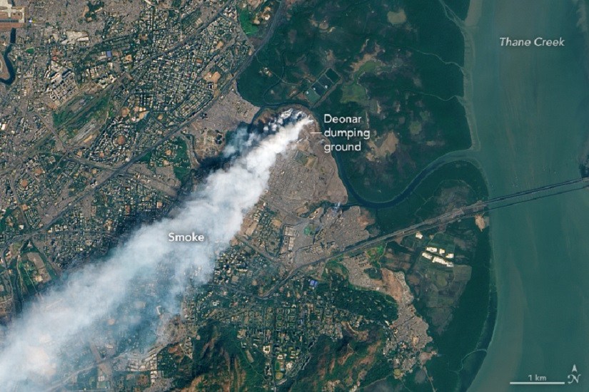 An aerial picture of a fire that broke out in the Deonar dumping ground. Image from Wikimedia Commons/ NASA